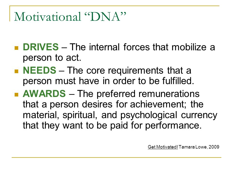 Motivational DNA DRIVES – The internal forces that mobilize a person to act.