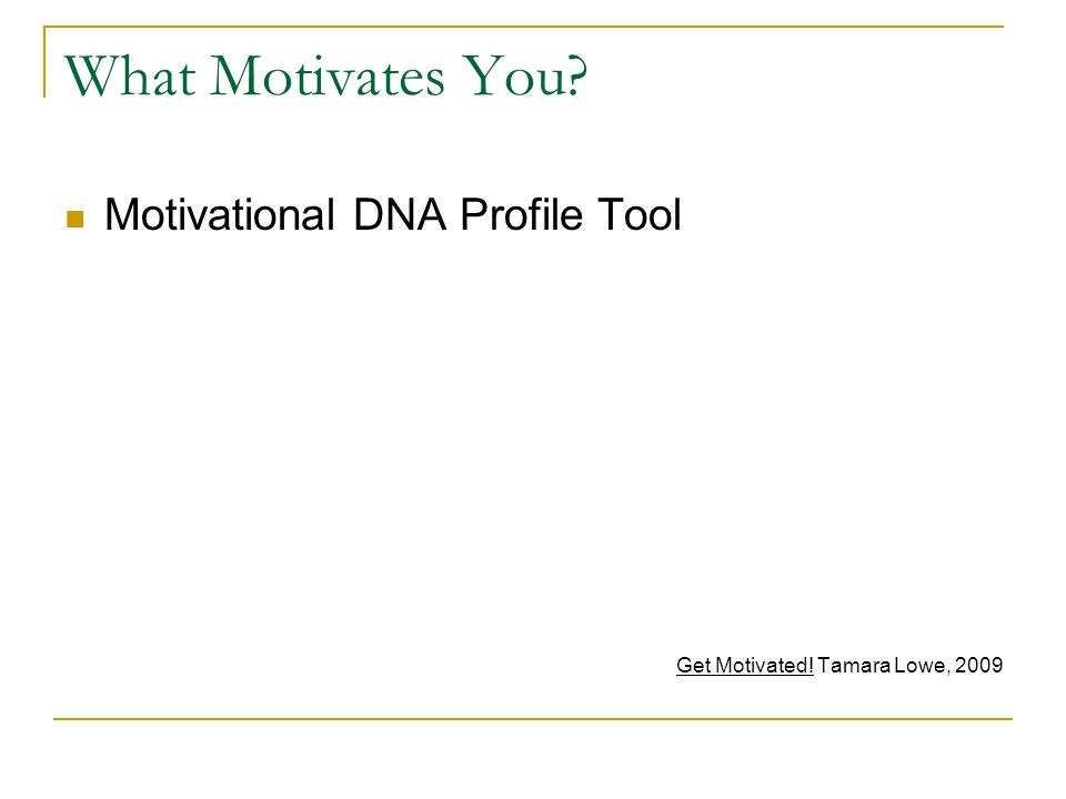 What Motivates You? Motivational DNA Profile Tool Get Motivated! Tamara Lowe, 2009