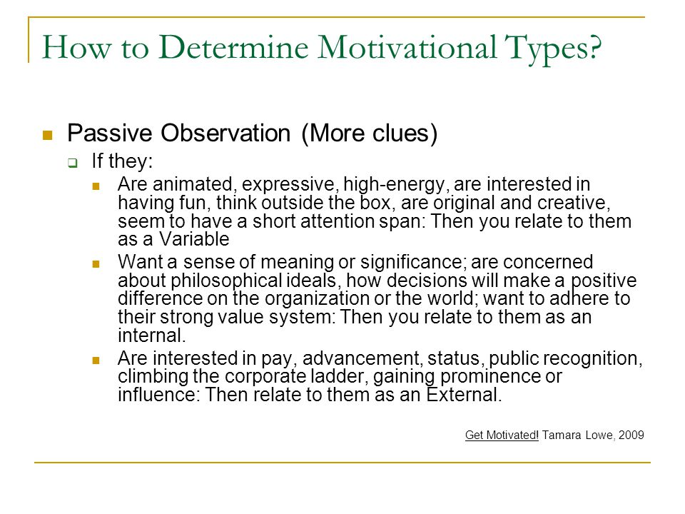 How to Determine Motivational Types.