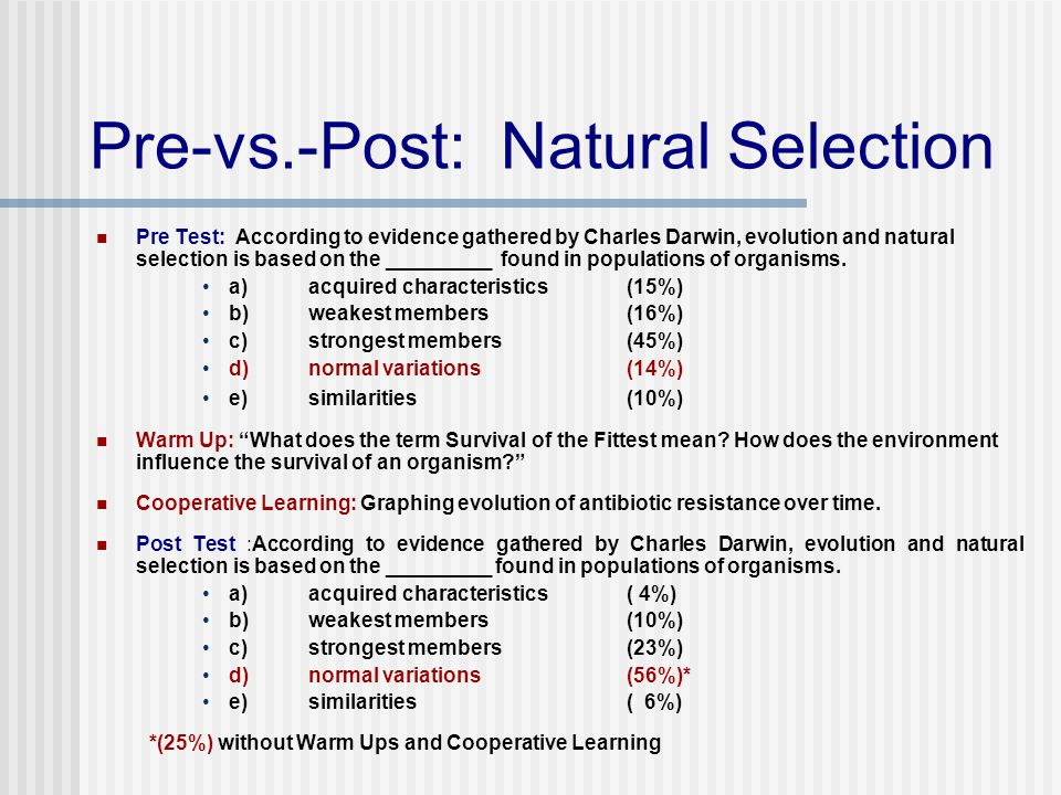 Pre-vs.-Post: Natural Selection Pre Test: According to evidence gathered by Charles Darwin, evolution and natural selection is based on the _________ found in populations of organisms.