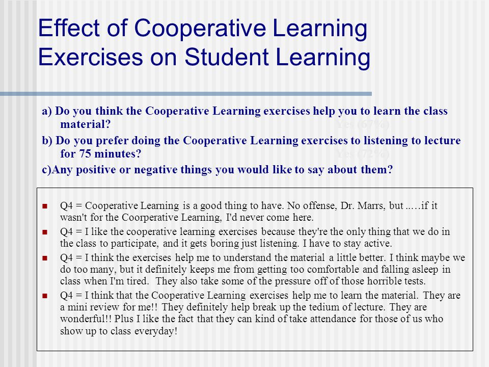 Effect of Cooperative Learning Exercises on Student Learning a) Do you think the Cooperative Learning exercises help you to learn the class material.