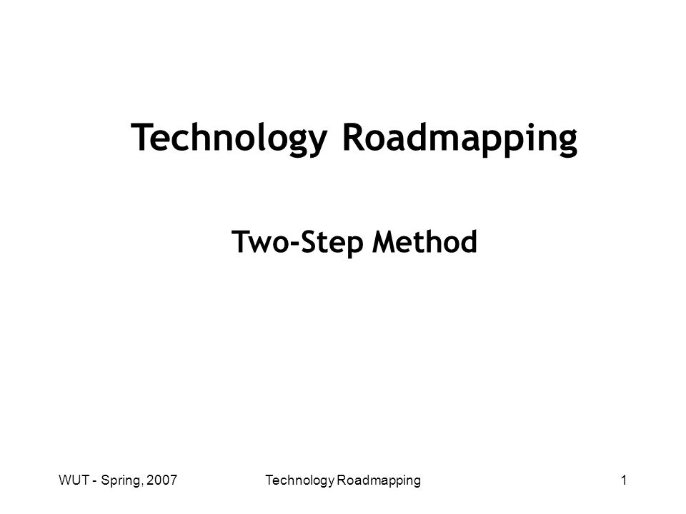 WUT - Spring, 2007Technology Roadmapping32 Technology Roadmapping Process: Potential Weaknesses Easy to roadmap what we know, hard to roadmap unknown routes, We need a means of surveying unknown territories.