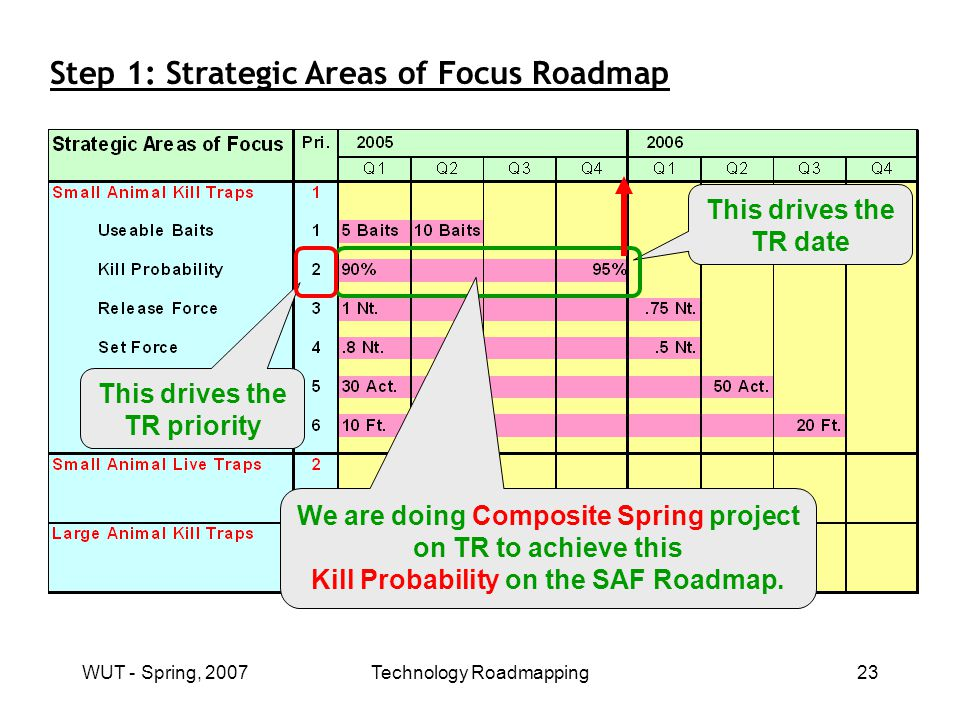 WUT - Spring, 2007Technology Roadmapping23 Step 1: Strategic Areas of Focus Roadmap This drives the TR date This drives the TR priority We are doing Composite Spring project on TR to achieve this Kill Probability on the SAF Roadmap.