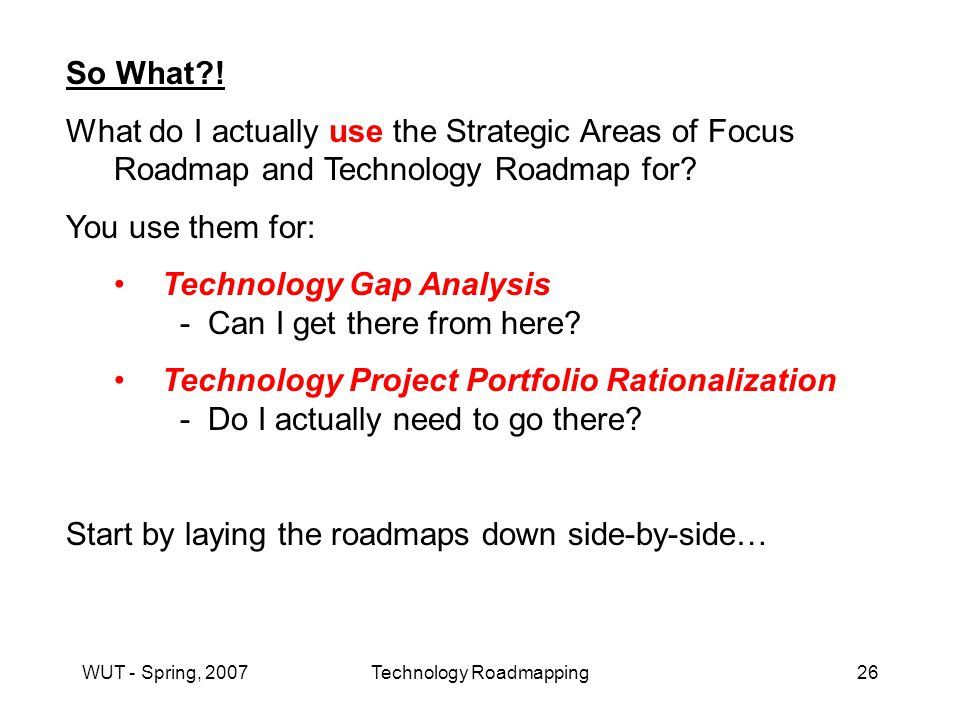 WUT - Spring, 2007Technology Roadmapping26 So What .