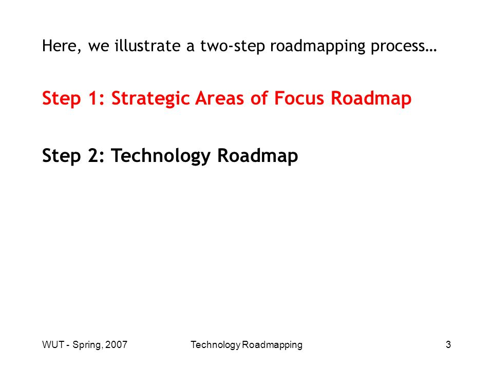 WUT - Spring, 2007Technology Roadmapping4 Example: Acme Trap Company Market Segmentation Acme Trap Company makes two kinds of animal traps (two fields of use): Small animal traps (rats, mice), Large animal traps (squirrels, foxes).