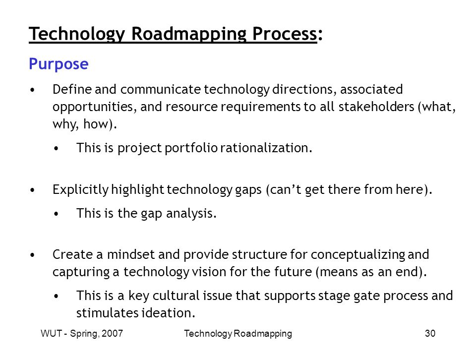 WUT - Spring, 2007Technology Roadmapping30 Technology Roadmapping Process: Purpose Define and communicate technology directions, associated opportunities, and resource requirements to all stakeholders (what, why, how).