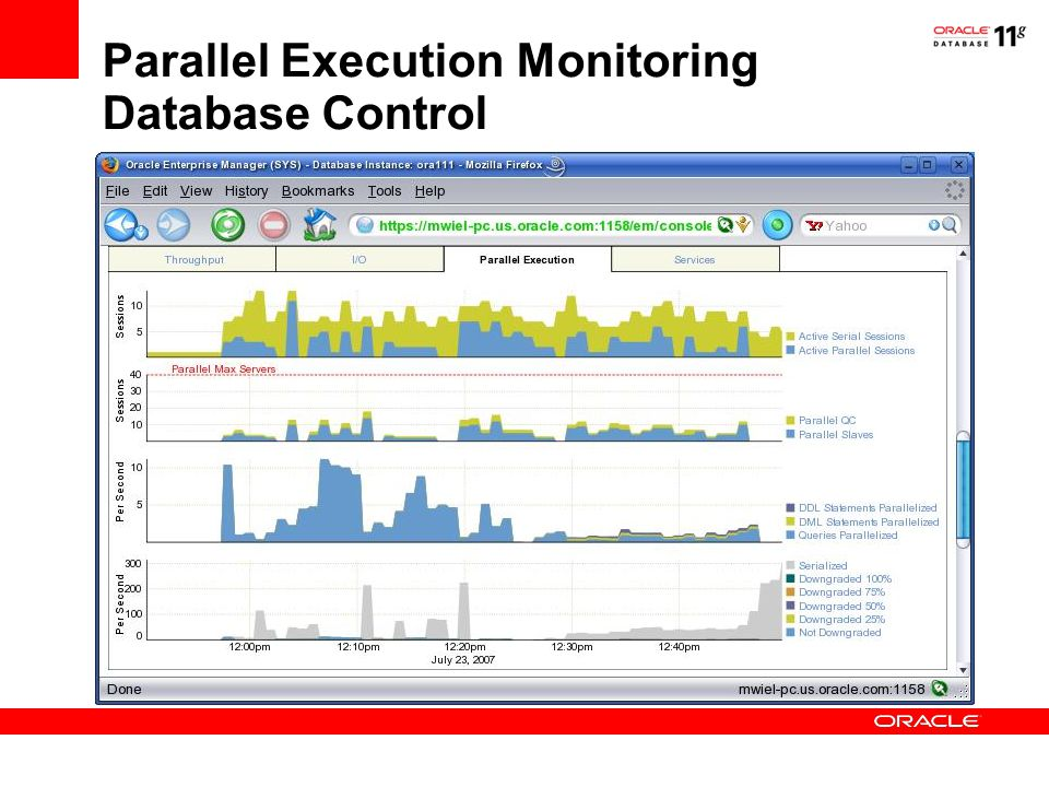 Parallel Execution Monitoring Database Control