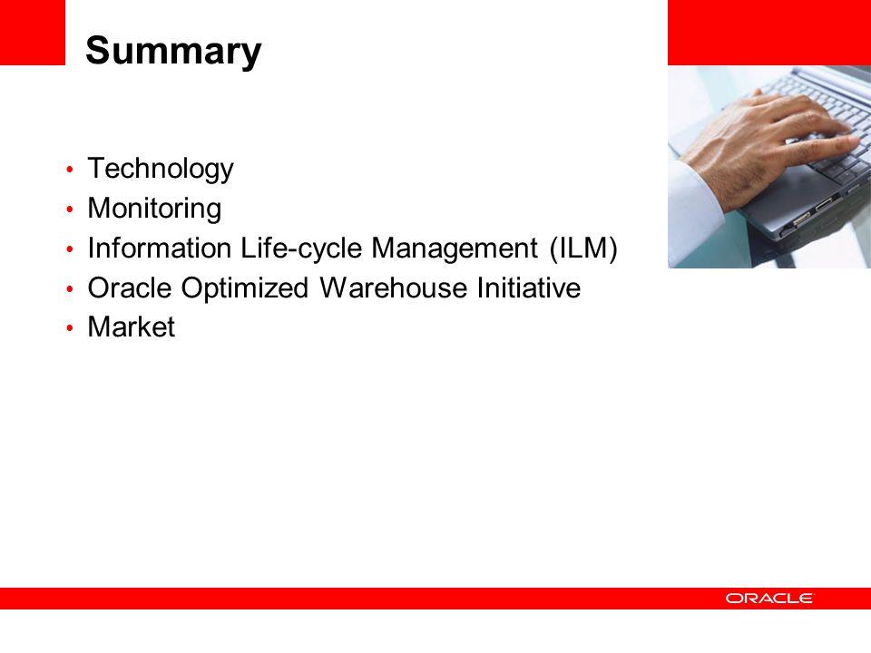 Summary Technology Monitoring Information Life-cycle Management (ILM) Oracle Optimized Warehouse Initiative Market