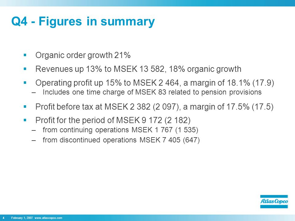February 1, Q4 - Figures in summary  Organic order growth 21%  Revenues up 13% to MSEK , 18% organic growth  Operating profit up 15% to MSEK 2 464, a margin of 18.1% (17.9) –Includes one time charge of MSEK 83 related to pension provisions  Profit before tax at MSEK (2 097), a margin of 17.5% (17.5)  Profit for the period of MSEK (2 182) –from continuing operations MSEK (1 535) –from discontinued operations MSEK (647)