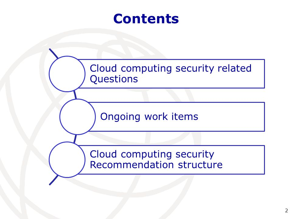 Contents Cloud computing security related Questions Ongoing work items Cloud computing security Recommendation structure 2