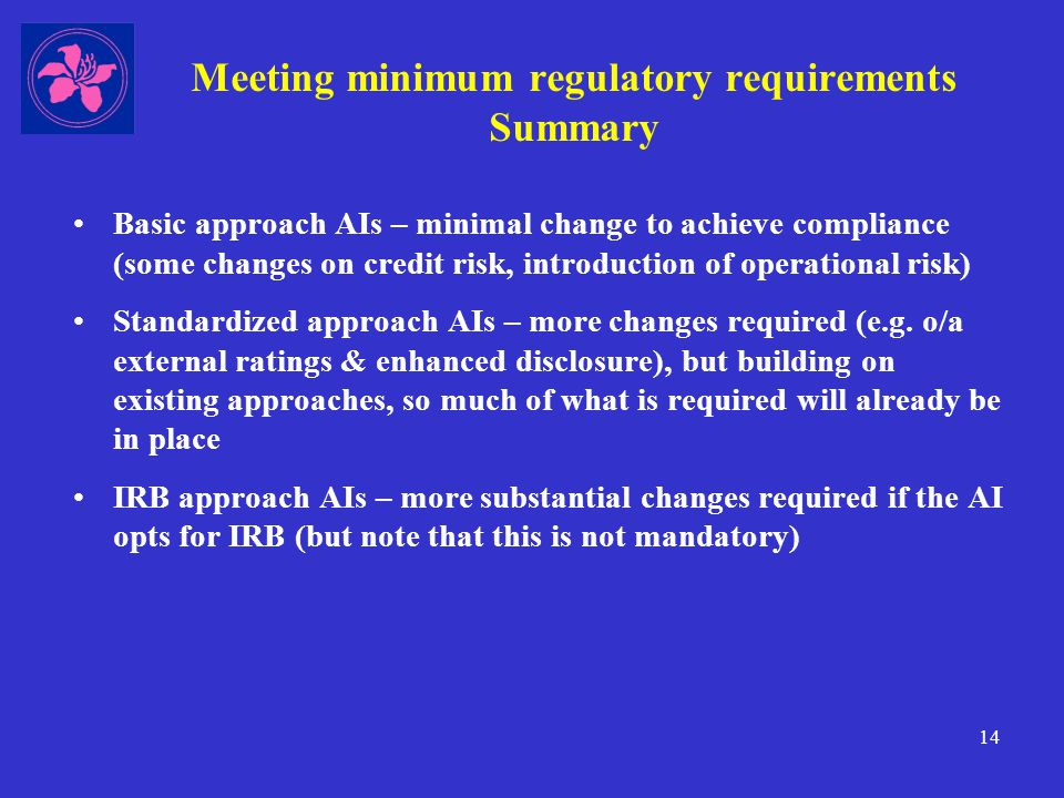 14 Meeting minimum regulatory requirements Summary Basic approach AIs – minimal change to achieve compliance (some changes on credit risk, introduction of operational risk) Standardized approach AIs – more changes required (e.g.