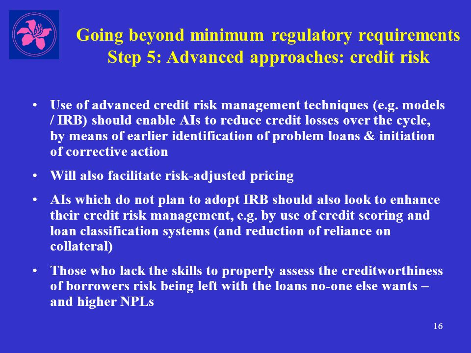 16 Going beyond minimum regulatory requirements Step 5: Advanced approaches: credit risk Use of advanced credit risk management techniques (e.g.