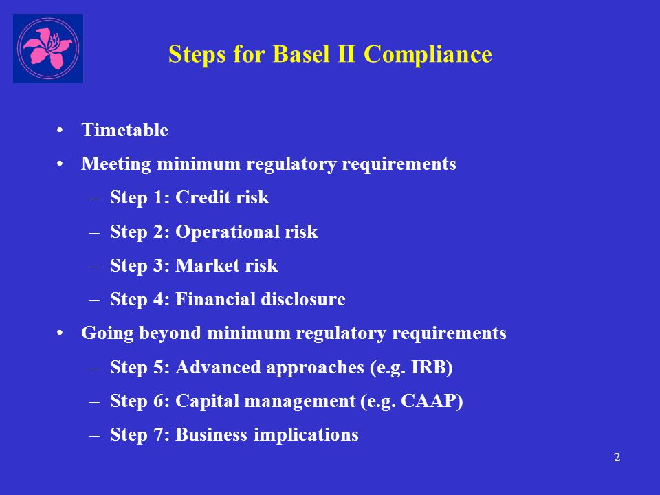 13 Implementation Timeline: 2007 onwards Jan 2007 –Credit risk: standardised approach: 20 basic approach: 50 foundation IRB: 1 or 2 –Operational risk: basic indicator approach: 50 standardised approach: 20 alternative standardised approach: 2 –Market risk: standardised approach 35 internal models approach 4 or 5 Jan 2008 (onwards) –7 or 8 AIs may transition from basic or standardised approach to foundation or advanced IRB
