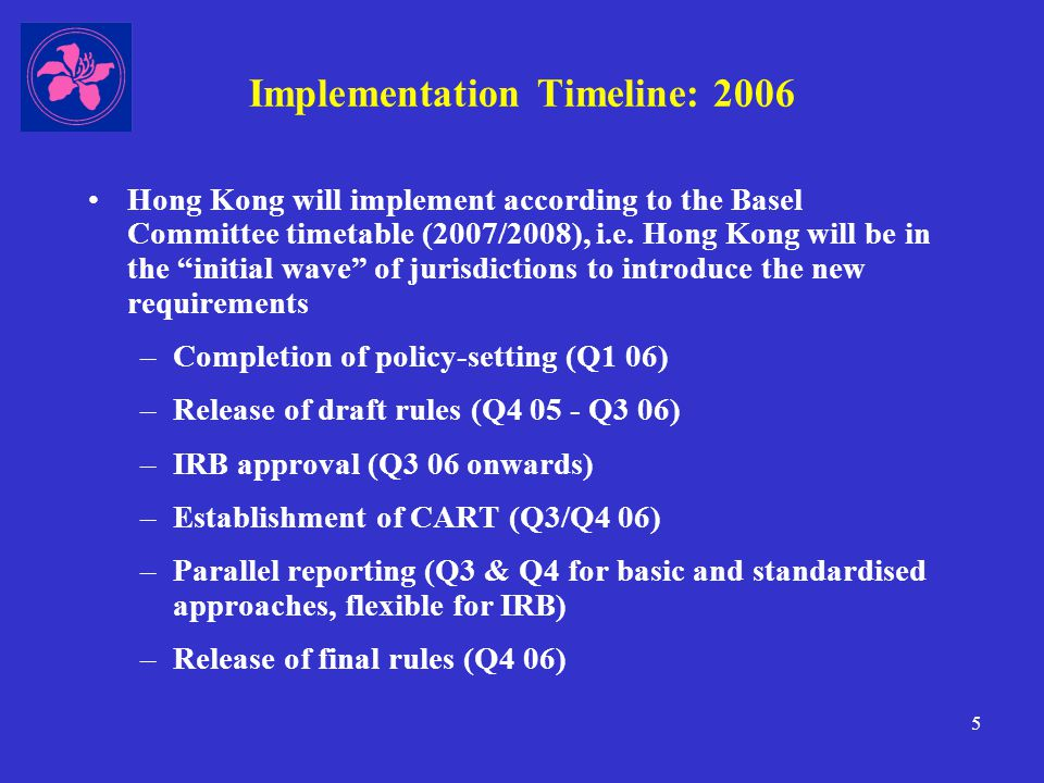 6 Implementation Timeline: 2007 onwards Jan 2007: All 77 locally-incorporated AIs will transition to Basel II.