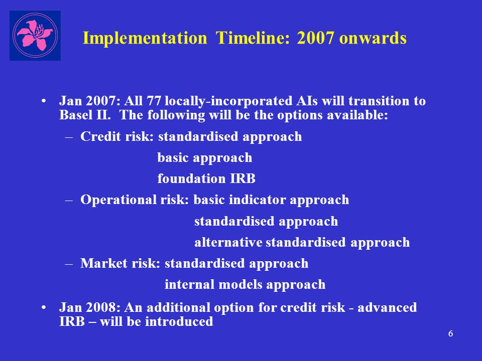 17 Going beyond minimum regulatory requirements Step 5: Advanced approaches: operational risk One of the key objectives of Basel II is to heighten management awareness of operational risk (the risk of loss arising from inadequate or failed internal processes, people and systems or from external events), e.g.