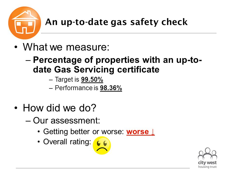 An up-to-date gas safety check What we measure: –Percentage of properties with an up-to- date Gas Servicing certificate –Target is 99.50% –Performance