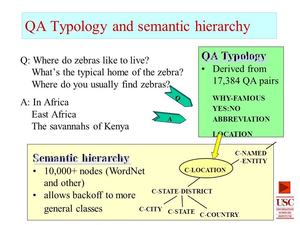 5 QA Typology and semantic hierarchy Q: Where do zebras like to live.