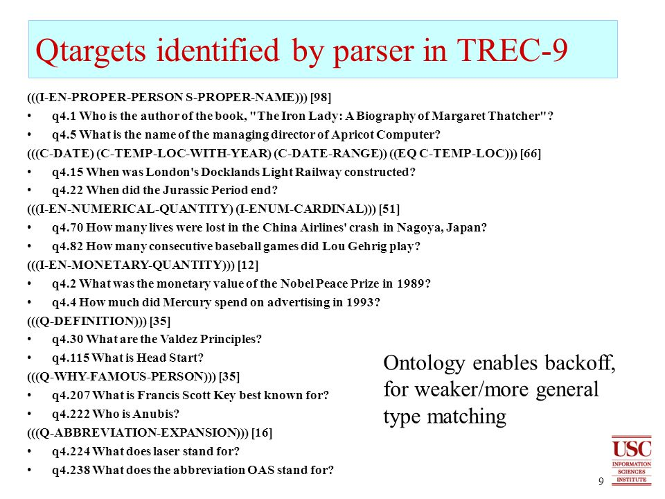 9 Qtargets identified by parser in TREC-9 (((I-EN-PROPER-PERSON S-PROPER-NAME))) [98] q4.1 Who is the author of the book, The Iron Lady: A Biography of Margaret Thatcher .