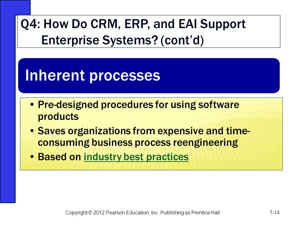 Q4: How Do CRM, ERP, and EAI Support Enterprise Systems? (cont'd) Inherent processes Pre-designed procedures for using software products Saves organiz
