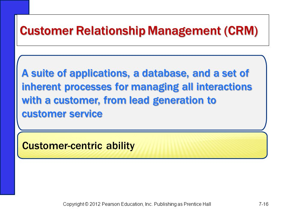 A suite of applications, a database, and a set of inherent processes for managing all interactions with a customer, from lead generation to customer s