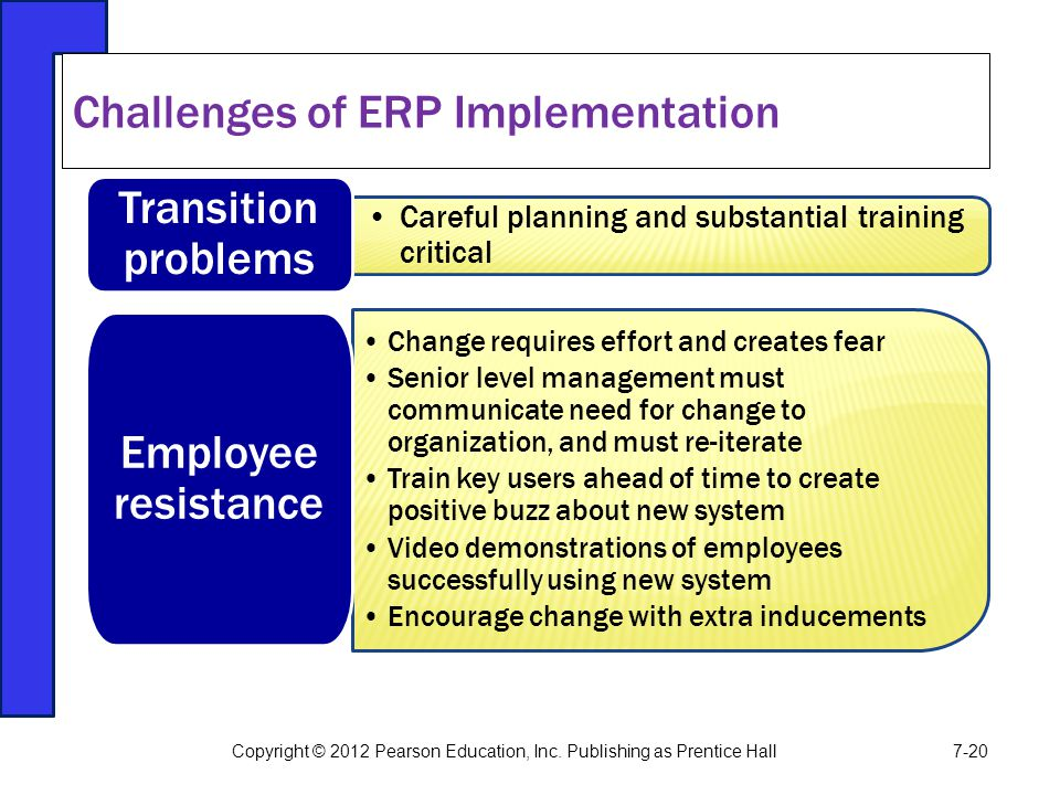 Careful planning and substantial training critical Transition problems Change requires effort and creates fear Senior level management must communicat