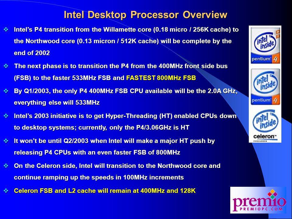 Intel Desktop Processor Overview  Intel's P4 transition from the Willamette core (0.18 micro / 256K cache) to the Northwood core (0.13 micron / 512K cache) will be complete by the end of 2002  The next phase is to transition the P4 from the 400MHz front side bus (FSB) to the faster 533MHz FSB and FASTEST 800MHz FSB  By Q1/2003, the only P4 400MHz FSB CPU available will be the 2.0A GHz, everything else will 533MHz  Intel's 2003 initiative is to get Hyper-Threading (HT) enabled CPUs down to desktop systems; currently, only the P4/3.06GHz is HT  It won't be until Q2/2003 when Intel will make a major HT push by releasing P4 CPUs with an even faster FSB of 800MHz  On the Celeron side, Intel will transition to the Northwood core and continue ramping up the speeds in 100MHz increments  Celeron FSB and L2 cache will remain at 400MHz and 128K