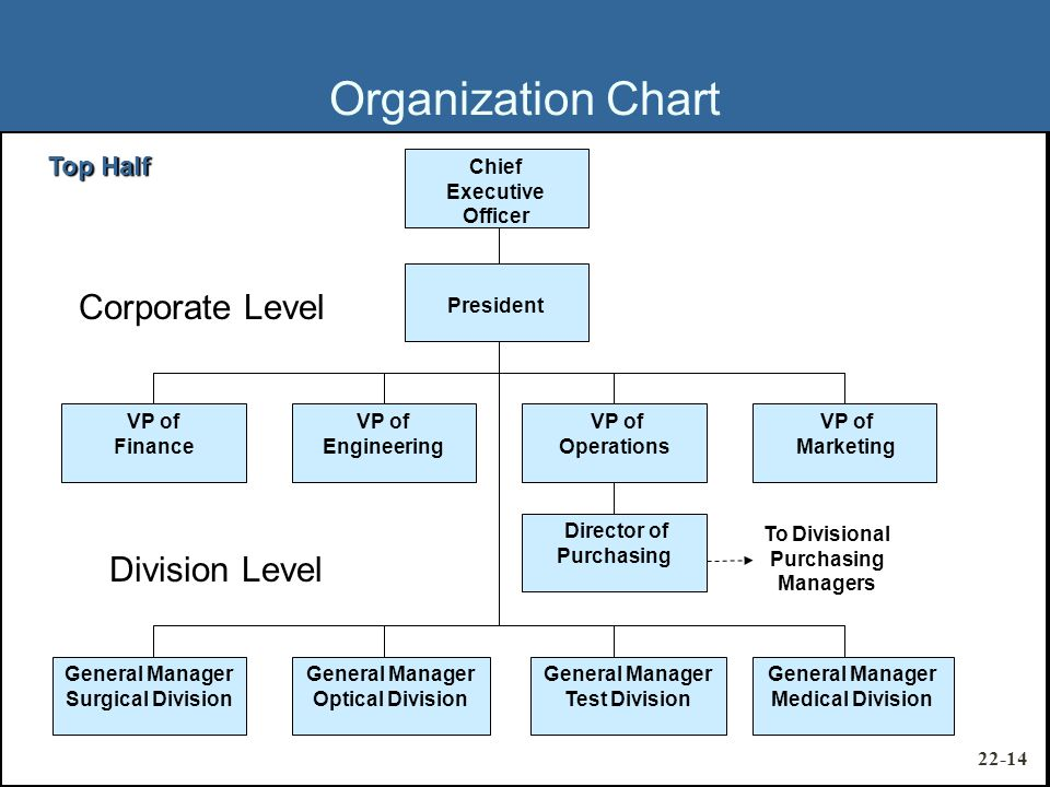 Chief Executive Officer President VP of Marketing VP of Operations VP of Engineering VP of Finance General Manager Medical Division General Manager Test Division General Manager Optical Division General Manager Surgical Division Director of Purchasing Division Level Corporate Level To Divisional Purchasing Managers Organization Chart Top Half 22-14