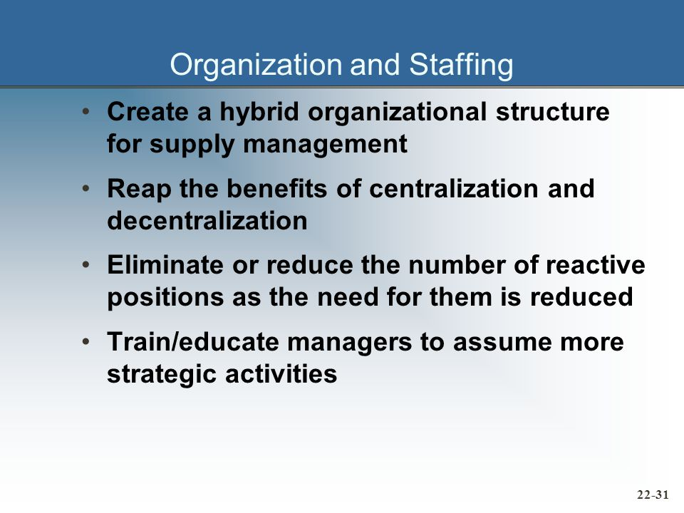 Organization and Staffing Create a hybrid organizational structure for supply management Reap the benefits of centralization and decentralization Eliminate or reduce the number of reactive positions as the need for them is reduced Train/educate managers to assume more strategic activities 22-31