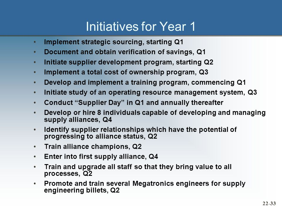 Initiatives for Year 1 Implement strategic sourcing, starting Q1 Document and obtain verification of savings, Q1 Initiate supplier development program, starting Q2 Implement a total cost of ownership program, Q3 Develop and implement a training program, commencing Q1 Initiate study of an operating resource management system, Q3 Conduct Supplier Day in Q1 and annually thereafter Develop or hire 8 individuals capable of developing and managing supply alliances, Q4 Identify supplier relationships which have the potential of progressing to alliance status, Q2 Train alliance champions, Q2 Enter into first supply alliance, Q4 Train and upgrade all staff so that they bring value to all processes, Q2 Promote and train several Megatronics engineers for supply engineering billets, Q2 22-33