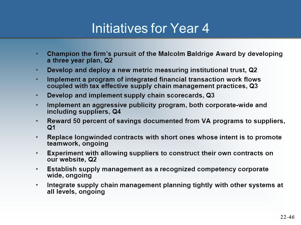 Initiatives for Year 4 Champion the firm's pursuit of the Malcolm Baldrige Award by developing a three year plan, Q2 Develop and deploy a new metric measuring institutional trust, Q2 Implement a program of integrated financial transaction work flows coupled with tax effective supply chain management practices, Q3 Develop and implement supply chain scorecards, Q3 Implement an aggressive publicity program, both corporate-wide and including suppliers, Q4 Reward 50 percent of savings documented from VA programs to suppliers, Q1 Replace longwinded contracts with short ones whose intent is to promote teamwork, ongoing Experiment with allowing suppliers to construct their own contracts on our website, Q2 Establish supply management as a recognized competency corporate wide, ongoing Integrate supply chain management planning tightly with other systems at all levels, ongoing 22-46