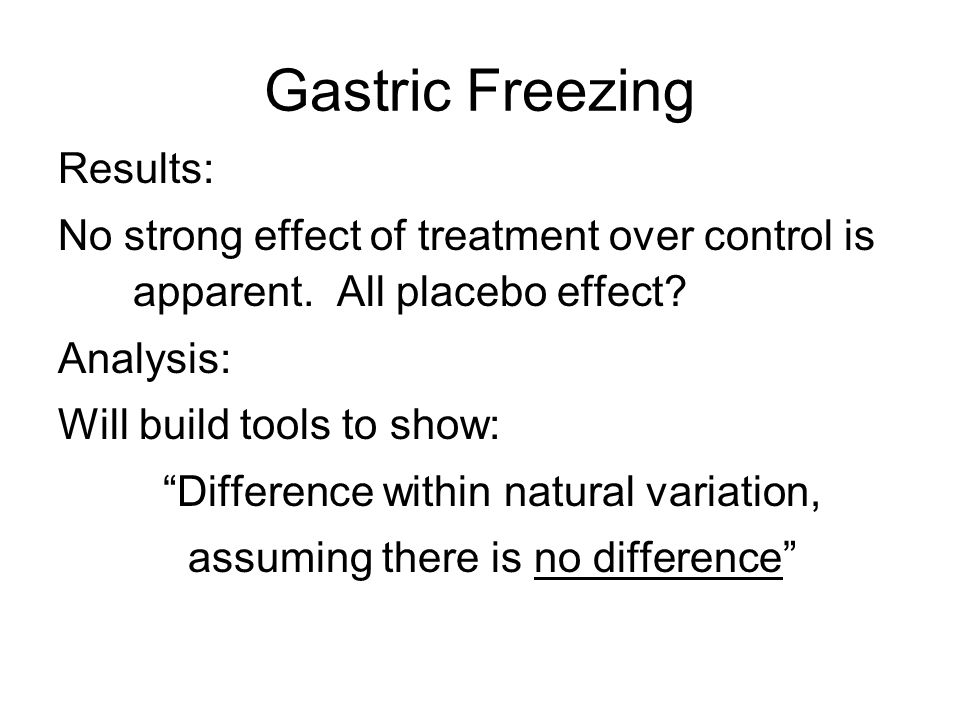 Gastric Freezing Results: No strong effect of treatment over control is apparent.