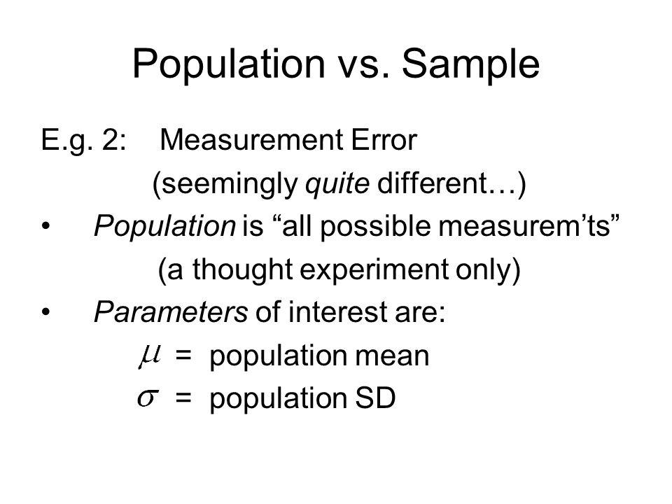 Population vs. Sample E.g.