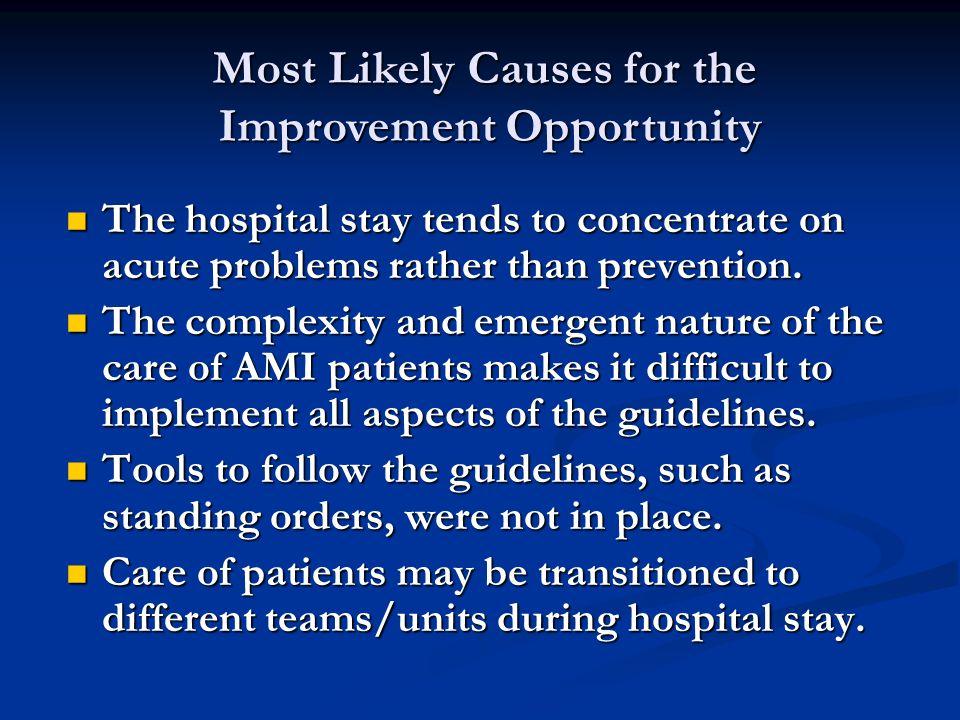 Solutions Implemented Formed AMI Core Measure committee (5/02) Formed AMI Core Measure committee (5/02) Developed and implemented AMI Discharge Progress Note Addendum (6/02) Developed and implemented AMI Discharge Progress Note Addendum (6/02) Educated cardiology attendings, residents and nursing staff on AMI initiative (6/02) Educated cardiology attendings, residents and nursing staff on AMI initiative (6/02) Began AMI data collection (7/02) Began AMI data collection (7/02) Developed brightly colored sticker for front of chart to designate AMI patients (10/02) Developed brightly colored sticker for front of chart to designate AMI patients (10/02) Added representative from ED to AMI committee (12/02) Added representative from ED to AMI committee (12/02)