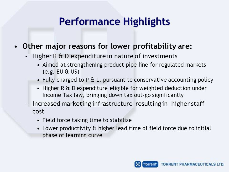 Performance Highlights Other major reasons for lower profitability are: –Higher R & D expenditure in nature of investments Aimed at strengthening product pipe line for regulated markets (e.g.
