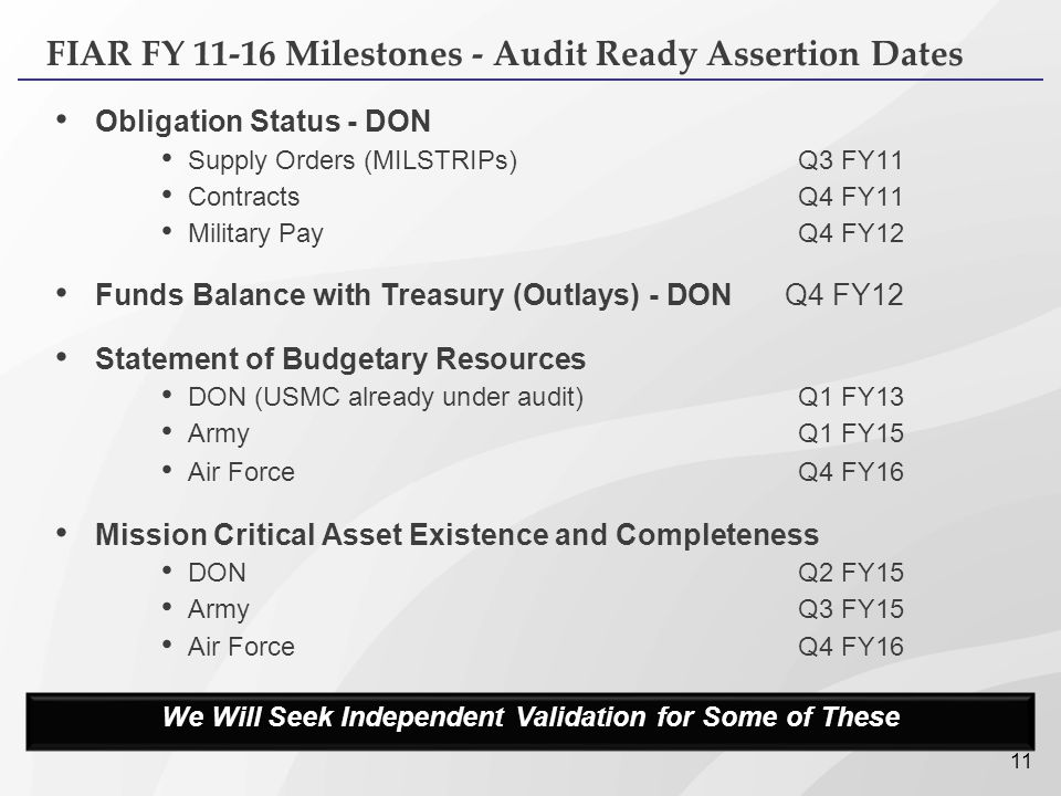 11 FIAR FY 11-16 Milestones - Audit Ready Assertion Dates Obligation Status - DON Supply Orders (MILSTRIPs)Q3 FY11 ContractsQ4 FY11 Military PayQ4 FY1