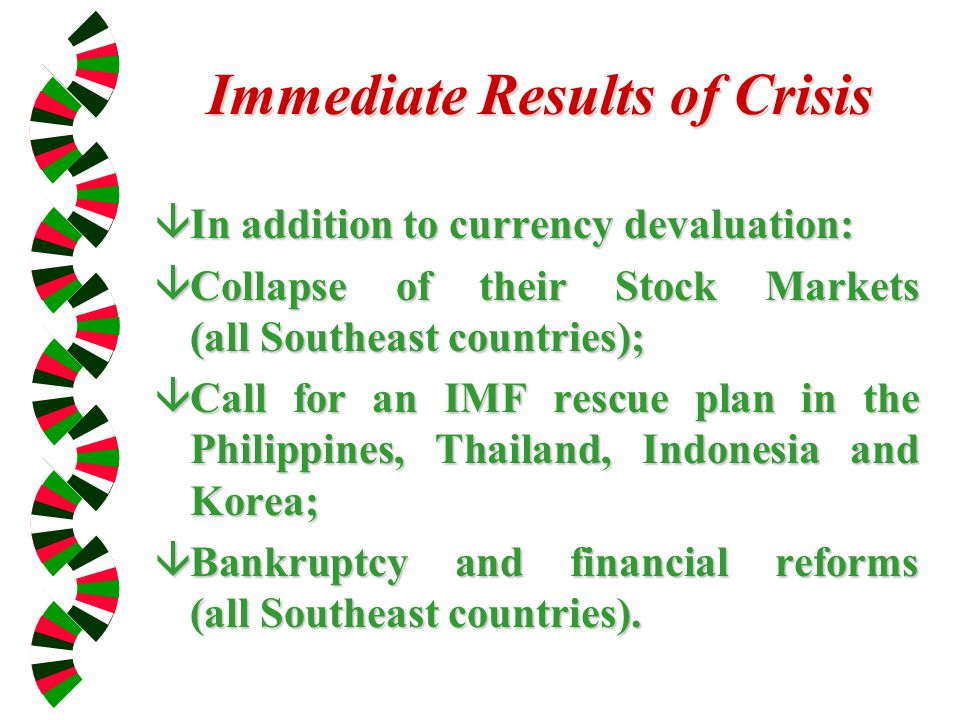 Immediate Results of Crisis âIn addition to currency devaluation: âCollapse of their Stock Markets (all Southeast countries); âCall for an IMF rescue plan in the Philippines, Thailand, Indonesia and Korea; âBankruptcy and financial reforms (all Southeast countries).