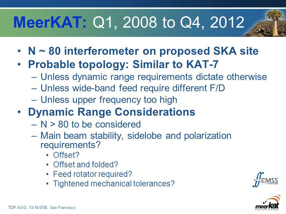 TDP AWG, 13-14/3/08, San Francisco MeerKAT: Q1, 2008 to Q4, 2012 N ~ 80 interferometer on proposed SKA site Probable topology: Similar to KAT-7 –Unles