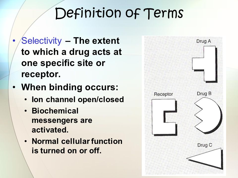 Definition of Terms Selectivity – The extent to which a drug acts at one specific site or receptor. When binding occurs: Ion channel open/closed Bioch