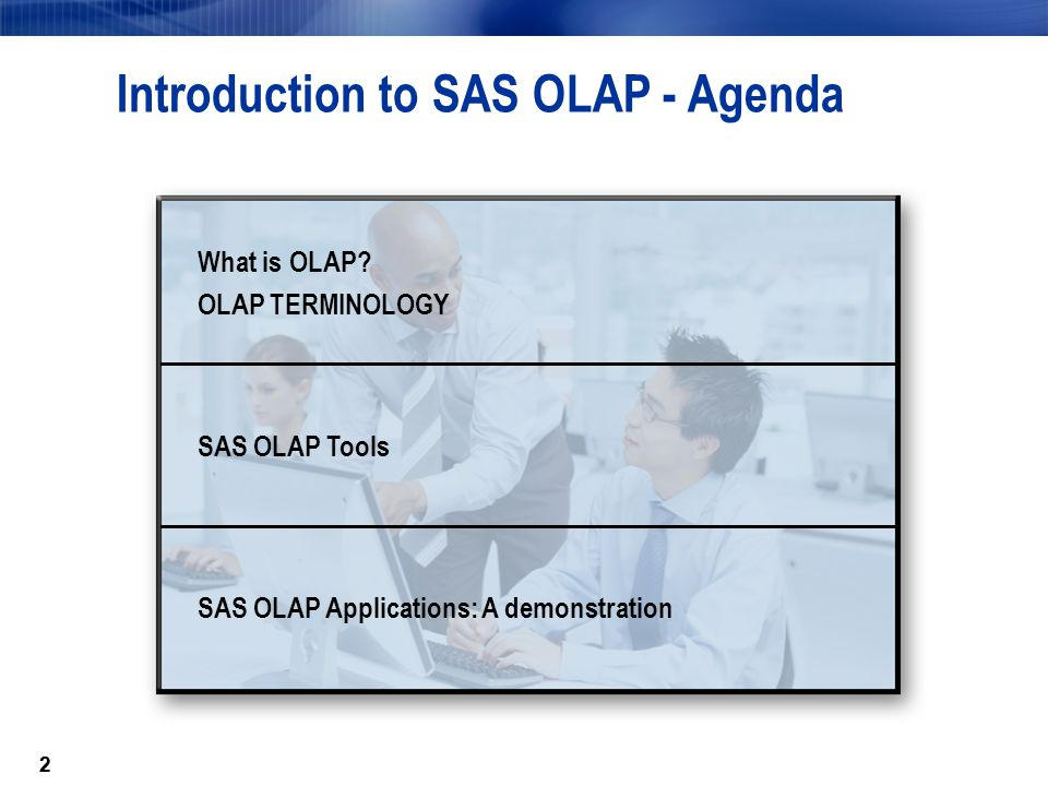 22 Introduction to SAS OLAP - Agenda What is OLAP.