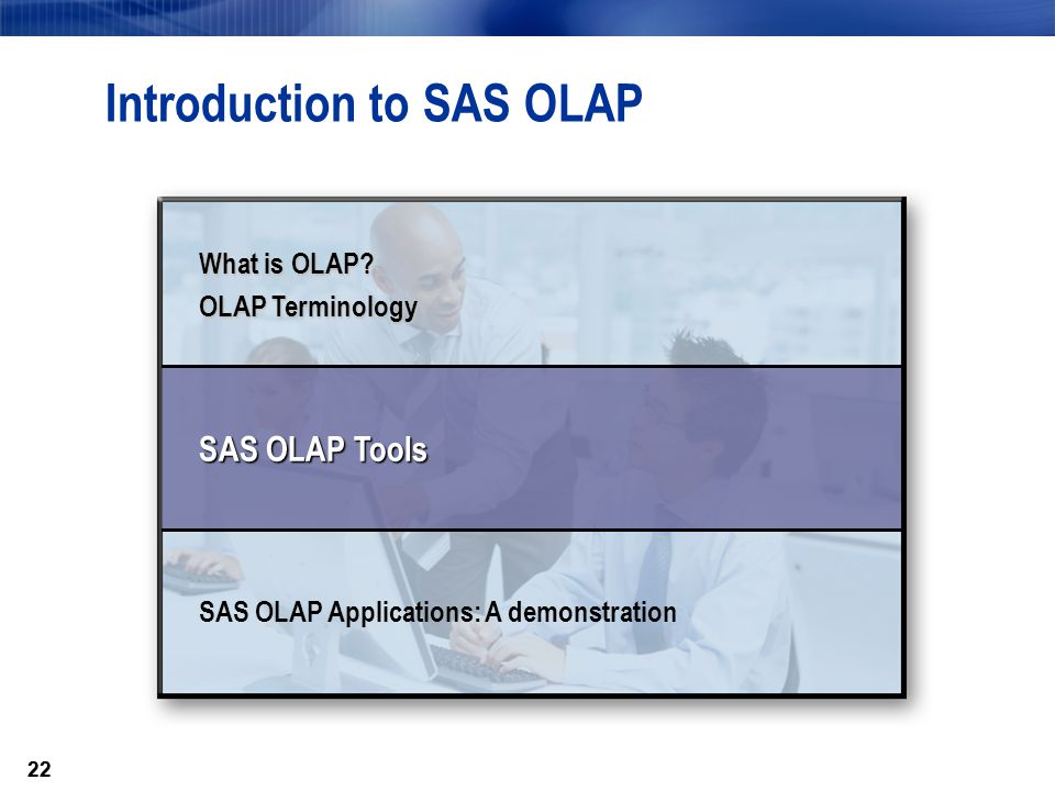 22 Introduction to SAS OLAP What is OLAP.