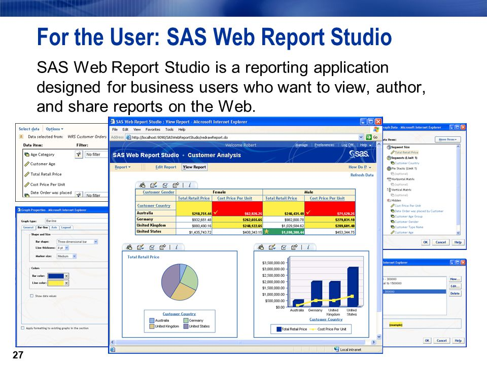 27 For the User: SAS Web Report Studio SAS Web Report Studio is a reporting application designed for business users who want to view, author, and share reports on the Web.