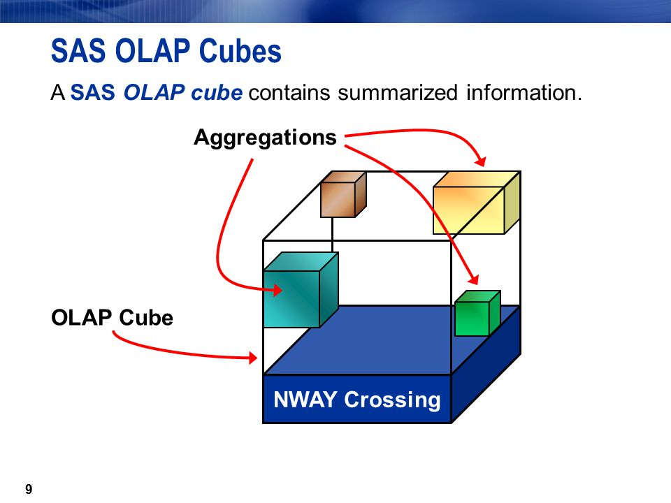 99 SAS OLAP Cubes A SAS OLAP cube contains summarized information.