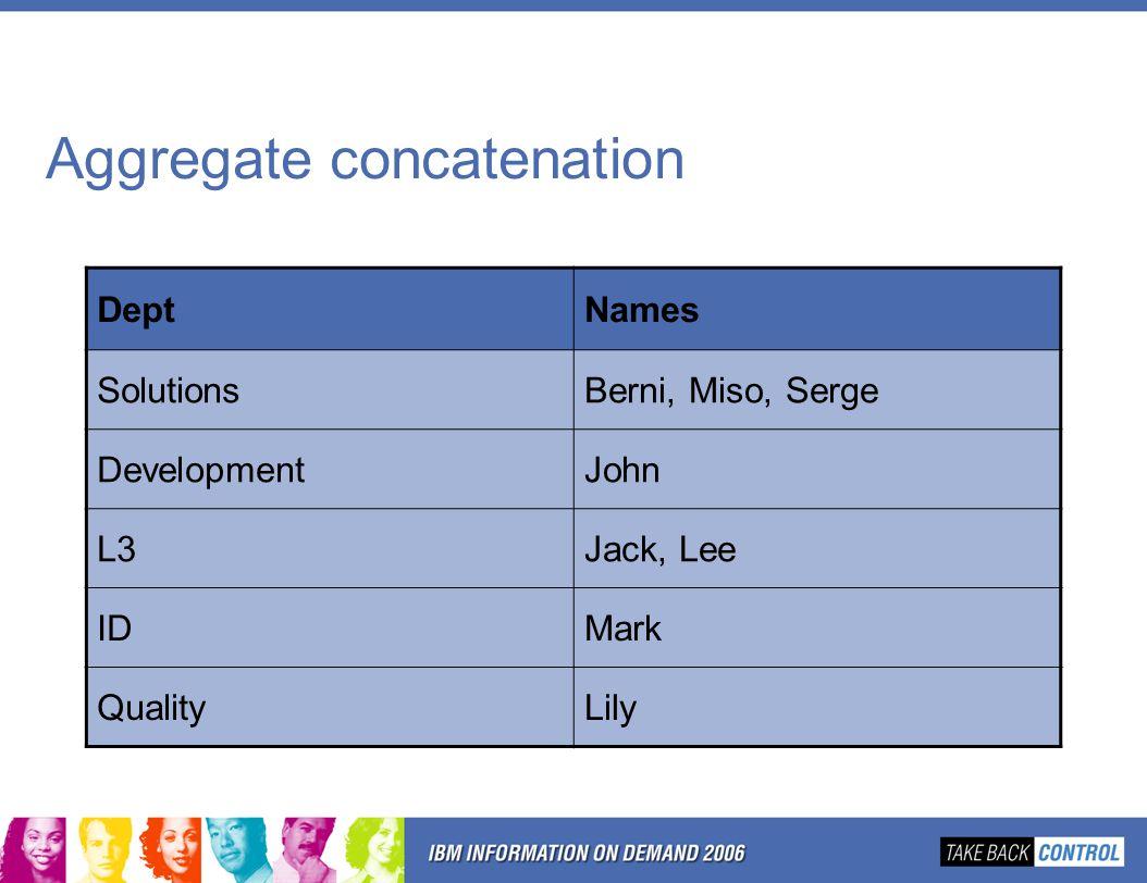 Aggregate concatenation DeptNames SolutionsBerni, Miso, Serge DevelopmentJohn L3Jack, Lee IDMark QualityLily