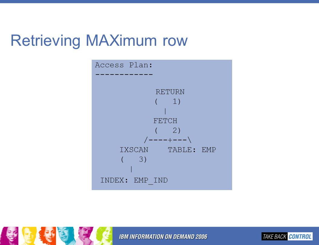 Retrieving MAXimum row Access Plan: ------------ RETURN ( 1) | FETCH ( 2) /----+---\ IXSCAN TABLE: EMP ( 3) | INDEX: EMP_IND
