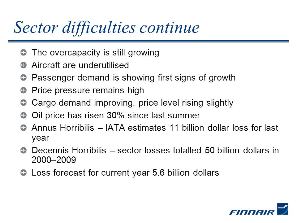 Sector difficulties continue The overcapacity is still growing Aircraft are underutilised Passenger demand is showing first signs of growth Price pressure remains high Cargo demand improving, price level rising slightly Oil price has risen 30% since last summer Annus Horribilis – IATA estimates 11 billion dollar loss for last year Decennis Horribilis – sector losses totalled 50 billion dollars in 2000–2009 Loss forecast for current year 5.6 billion dollars