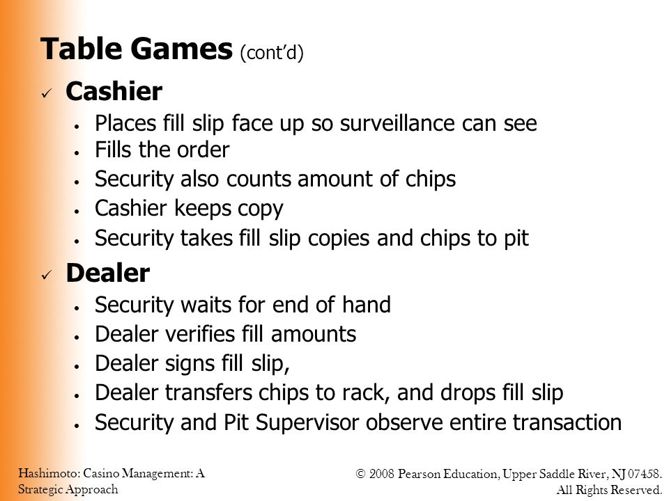 Hashimoto: Casino Management: A Strategic Approach © 2008 Pearson Education, Upper Saddle River, NJ 07458. All Rights Reserved. Table Games (cont'd) C