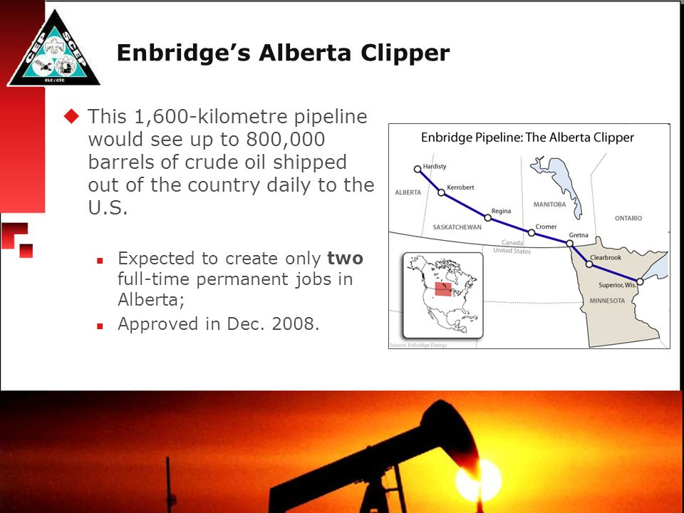 Enbridge's Southern Lights  This 3,041-kilometre pipeline would actually flow from Chicago to Edmonton, sending 180,000 bbl/d of light hydrocarbons.