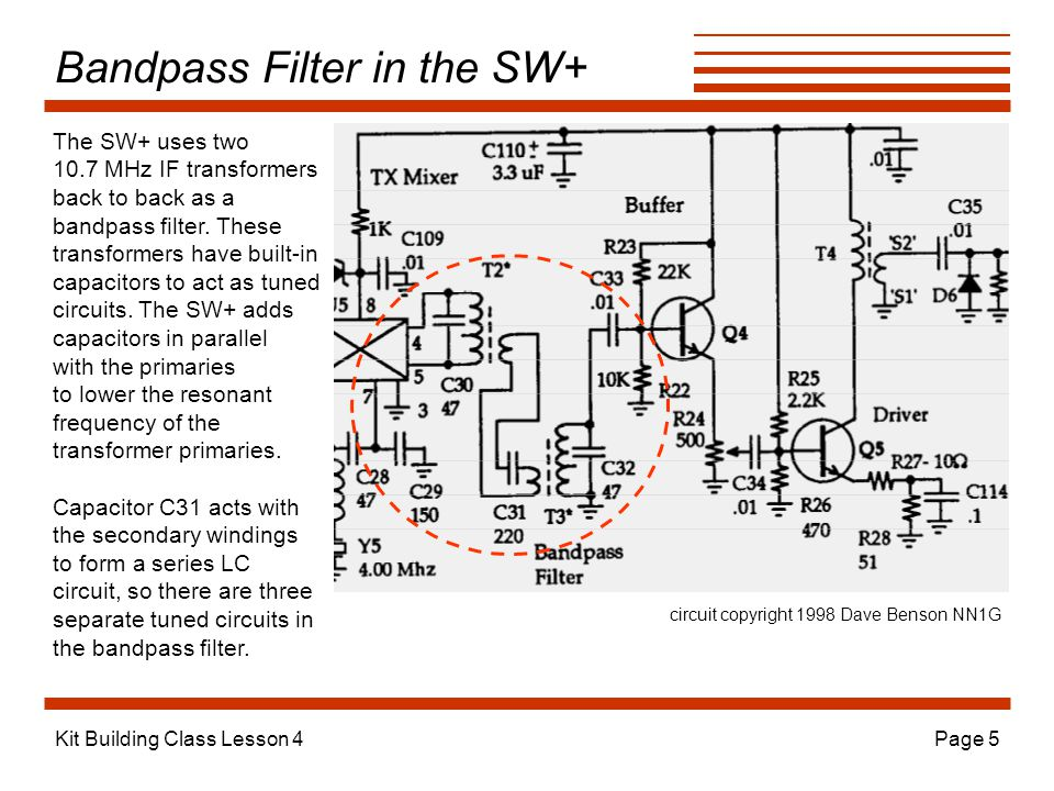 Kit Building Class Lesson 4Page 5 Bandpass Filter in the SW+ The SW+ uses two 10.7 MHz IF transformers back to back as a bandpass filter.