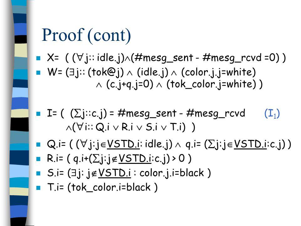 Proof (cont) n X= ( (  j:: idle.j)  (#mesg_sent - #mesg_rcvd =0) ) n W= (  j:: (tok@j)  (idle.j)  (color.j.j=white)  (c.j+q.j=0)  (tok_color.j=white) ) n I= ( (  j::c.j) = #mesg_sent - #mesg_rcvd (I 1 )  (  i:: Q.i  R.i  S.i  T.i) ) n Q.i= ( (  j:j  VSTD.i: idle.j)  q.i= (  j:j  VSTD.i:c.j) ) n R.i= ( q.i+(  j:j  VSTD.i:c.j) > 0 ) n S.i= (  j: j  VSTD.i : color.j.i=black ) n T.i= (tok_color.i=black )