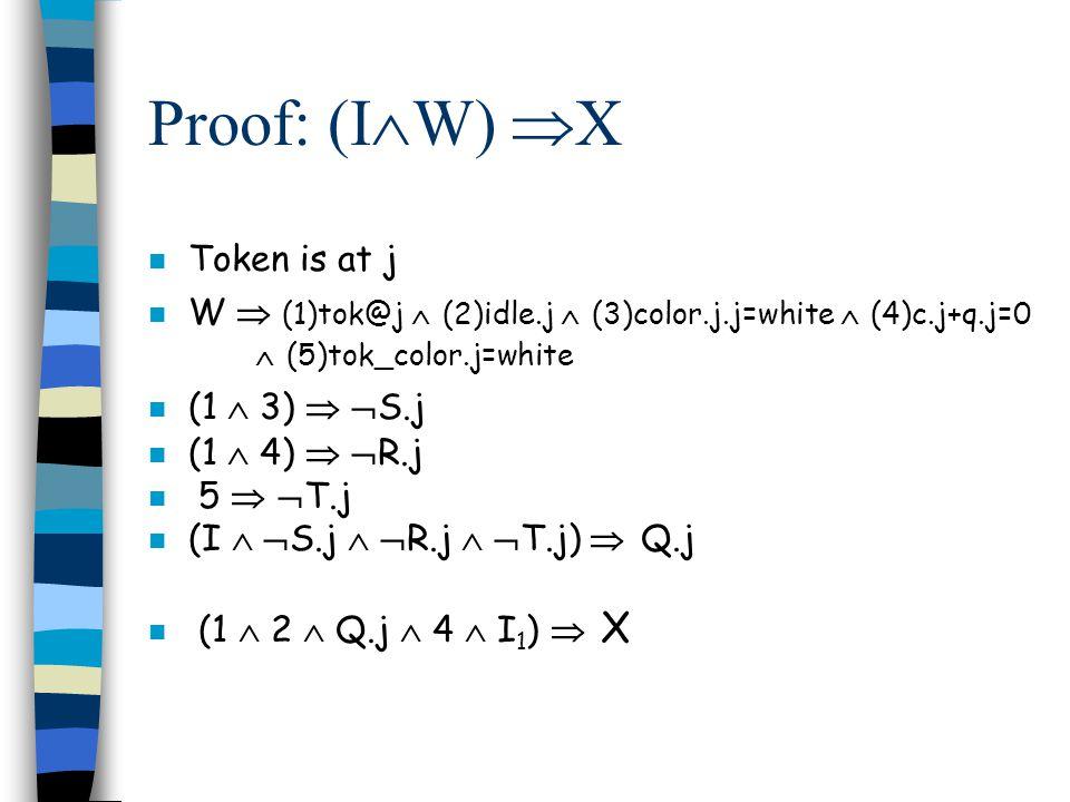 Proof: (I  W)  X n Token is at j n W  (1)tok@j  (2)idle.j  (3)color.j.j=white  (4)c.j+q.j=0  (5)tok_color.j=white n (1  3)   S.j n (1  4)   R.j n 5   T.j n (I   S.j   R.j   T.j)  Q.j n (1  2  Q.j  4  I 1 )  X